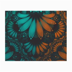 Beautiful Teal And Orange Paisley Fractal Feathers Small Glasses Cloth (2 Side)