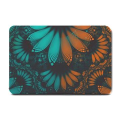Beautiful Teal And Orange Paisley Fractal Feathers Small Doormat