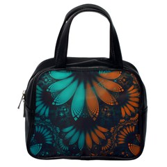 Beautiful Teal And Orange Paisley Fractal Feathers Classic Handbags (one Side)
