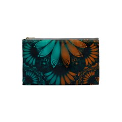 Beautiful Teal And Orange Paisley Fractal Feathers Cosmetic Bag (small)