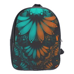 Beautiful Teal And Orange Paisley Fractal Feathers School Bag (xl)
