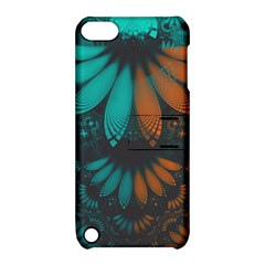 Beautiful Teal And Orange Paisley Fractal Feathers Apple Ipod Touch 5 Hardshell Case With Stand