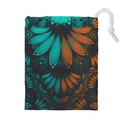 Beautiful Teal And Orange Paisley Fractal Feathers Drawstring Pouches (extra Large)