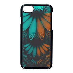 Beautiful Teal And Orange Paisley Fractal Feathers Apple Iphone 8 Seamless Case (black)