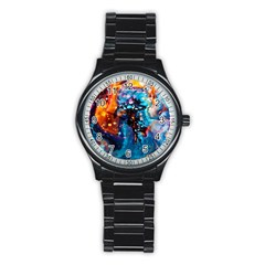 Abstract Acryl Art Stainless Steel Round Watch