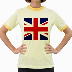 Union Jack Pencil Art Women s Fitted Ringer T Shirts