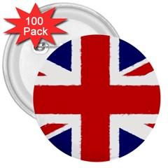Union Jack Pencil Art 3  Buttons (100 Pack)