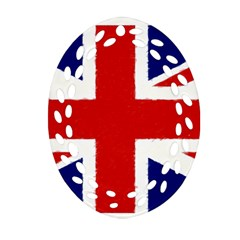 Union Jack Pencil Art Oval Filigree Ornament (two Sides)