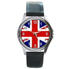 Union Jack Watercolor Drawing Art Round Metal Watch