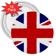 Union Jack Watercolor Drawing Art 3  Buttons (10 Pack)