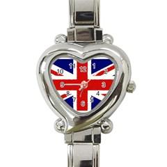 Union Jack Watercolor Drawing Art Heart Italian Charm Watch