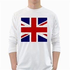 Union Jack Watercolor Drawing Art White Long Sleeve T Shirts