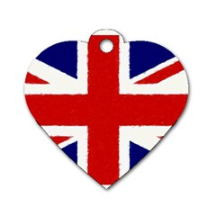 Union Jack Watercolor Drawing Art Dog Tag Heart (one Side)