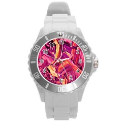 Abstract Acryl Art Round Plastic Sport Watch (l)