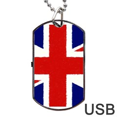 Union Jack Watercolor Drawing Art Dog Tag Usb Flash (one Side)