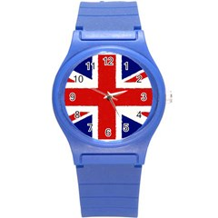 Union Jack Watercolor Drawing Art Round Plastic Sport Watch (s)