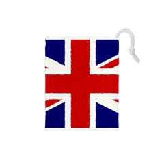 Union Jack Watercolor Drawing Art Drawstring Pouches (small)