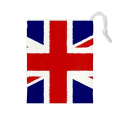 Union Jack Watercolor Drawing Art Drawstring Pouches (large)