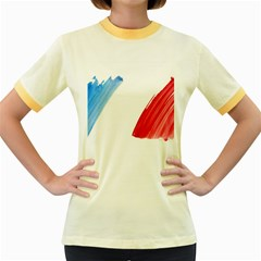 France Flag, Banner Watercolor Painting Art Women s Fitted Ringer T Shirts