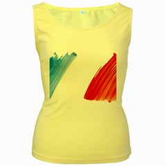 France Flag, Banner Watercolor Painting Art Women s Yellow Tank Top