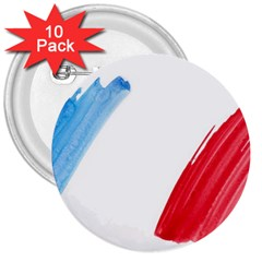 France Flag, Banner Watercolor Painting Art 3  Buttons (10 Pack)