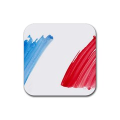 France Flag, Banner Watercolor Painting Art Rubber Square Coaster (4 Pack)