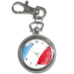 France Flag, Banner Watercolor Painting Art Key Chain Watches