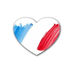 France Flag, Banner Watercolor Painting Art Rubber Coaster (heart)