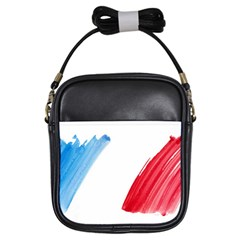 France Flag, Banner Watercolor Painting Art Girls Sling Bags