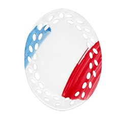 France Flag, Banner Watercolor Painting Art Ornament (oval Filigree)