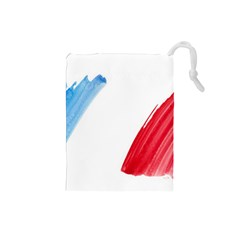 France Flag, Banner Watercolor Painting Art Drawstring Pouches (small)