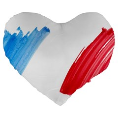 France Flag, Banner Watercolor Painting Art Large 19  Premium Flano Heart Shape Cushions