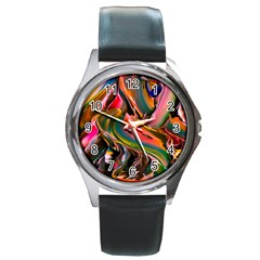 Abstract Acryl Art Round Metal Watch