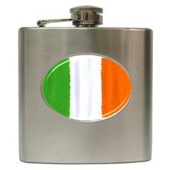 Flag Ireland, Banner Watercolor Painting Art Hip Flask (6 Oz)
