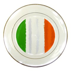 Flag Ireland, Banner Watercolor Painting Art Porcelain Plates
