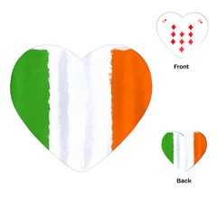 Flag Ireland, Banner Watercolor Painting Art Playing Cards (heart)