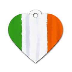 Flag Ireland, Banner Watercolor Painting Art Dog Tag Heart (one Side)