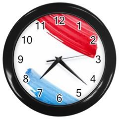 Tricolor Banner Watercolor Painting Art Wall Clocks (black)