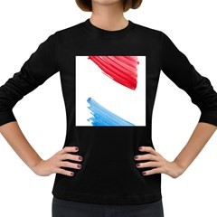 Tricolor Banner Watercolor Painting Art Women s Long Sleeve Dark T Shirts