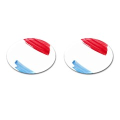 Tricolor Banner Watercolor Painting Art Cufflinks (oval)