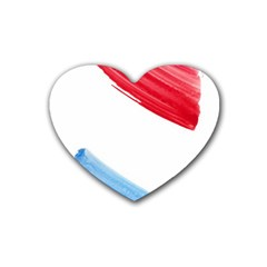 Tricolor Banner Watercolor Painting Art Rubber Coaster (heart)