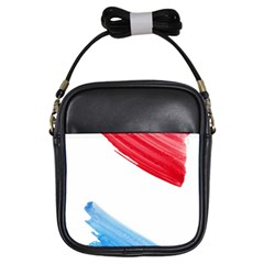 Tricolor Banner Watercolor Painting Art Girls Sling Bags
