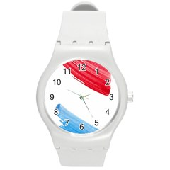 Tricolor Banner Watercolor Painting Art Round Plastic Sport Watch (m)