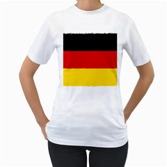 German Flag, Banner Deutschland, Watercolor Painting Art Women s T Shirt (white) (two Sided)