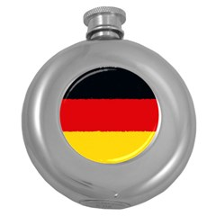 German Flag, Banner Deutschland, Watercolor Painting Art Round Hip Flask (5 Oz)