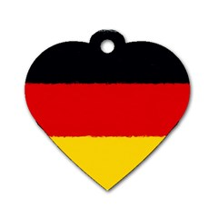 German Flag, Banner Deutschland, Watercolor Painting Art Dog Tag Heart (one Side)