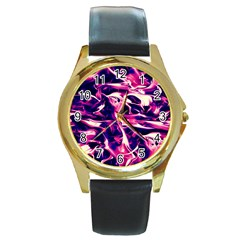 Abstract Acryl Art Round Gold Metal Watch