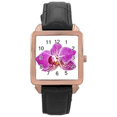 Lilac Phalaenopsis Aquarel  Watercolor Art Painting Rose Gold Leather Watch
