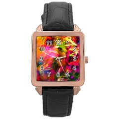 Abstract Acryl Art Rose Gold Leather Watch