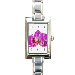 Lilac Phalaenopsis Flower, Floral Oil Painting Art Rectangle Italian Charm Watch